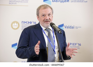 SAINT-PETERSBURG, RUSSIA - JUN 16, 2016: St. Petersburg International Economic Forum SPIEF-2016. Andrei Bystritsky, Foundation for the Development and Support of the Valdai Discussion Club