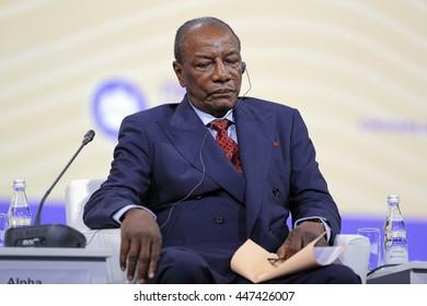 SAINT-PETERSBURG, RUSSIA - JUN 16, 2016: St. Petersburg International Economic Forum SPIEF-2016. President of Guinea Alpha Conde