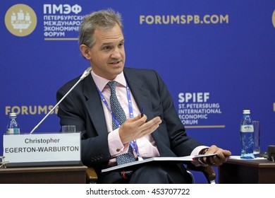 SAINT-PETERSBURG, RUSSIA - JUN 16, 2016: St. Petersburg International Economic Forum SPIEF-2016. Christopher Egerton-Warburton, Senior Advisor, Global Health Investment Fund (GHIF)