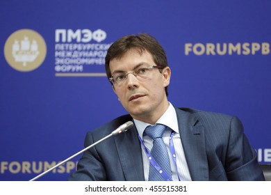 SAINT-PETERSBURG, RUSSIA - JUN 16, 2016: St. Petersburg International Economic Forum SPIEF-2016. Maxim Protasov, Head, Russian System of Quality