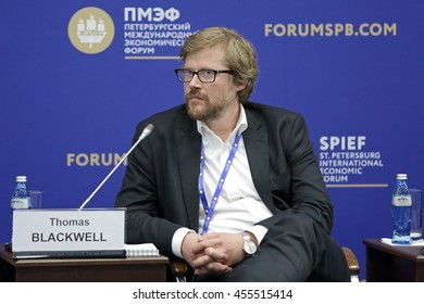 SAINT-PETERSBURG, RUSSIA - JUN 16, 2016: St. Petersburg International Economic Forum SPIEF-2016. Thomas Blackwell, Chief Executive Officer, Co-Founder, EM
