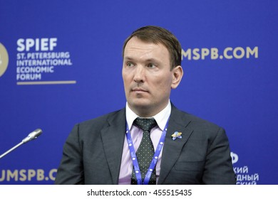SAINT-PETERSBURG, RUSSIA - JUN 16, 2016: St. Petersburg International Economic Forum SPIEF-2016. Dmitry Kostygin, Chairman of the Board of Directors, Ulmart
