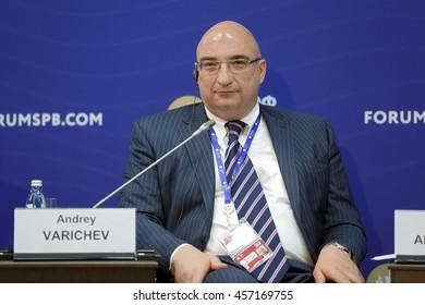SAINT-PETERSBURG, RUSSIA - JUN 16, 2016: St. Petersburg International Economic Forum SPIEF-2016. Andrey Varichev, Chief Executive Officer, Management Company METALLOINVEST LLC