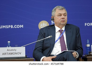 SAINT-PETERSBURG, RUSSIA - JUN 16, 2016: St. Petersburg International Economic Forum SPIEF-2016. Anatoly Artamonov, Governor of Kaluga Region