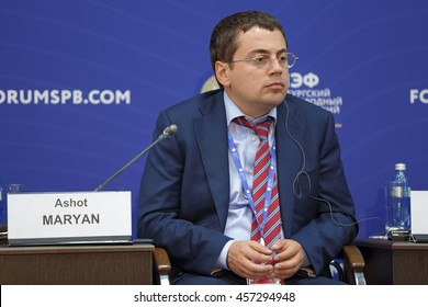 SAINT-PETERSBURG, RUSSIA - JUN 16, 2016: St. Petersburg International Economic Forum SPIEF-2016. Ashot Maryan, Head of Projects Management Center, RUSNANO Corporation