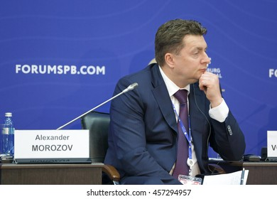 SAINT-PETERSBURG, RUSSIA - JUN 16, 2016: St. Petersburg International Economic Forum SPIEF-2016. Alexander Morozov, Deputy Minister of Industry and Trade of the Russian Federation