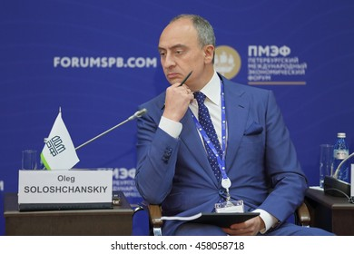 "SAINT-PETERSBURG, RUSSIA - JUN 17, 2016: St. Petersburg International Economic Forum SPIEF-2016. Oleg Soloshchanskiy, the President of JSC ""INTECO"" is a Russian construction company"