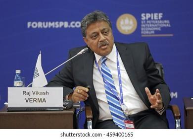 SAINT-PETERSBURG, RUSSIA- JUN 17, 2016: St. Petersburg International Economic Forum SPIEF-2016. Raj Vikash Verma, Whole-Time Member (Finance), Pension Fund Regulatory and Development Authority (PFRDA)