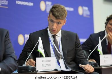 SAINT-PETERSBURG, RUSSIA - JUN 17, 2016: St. Petersburg International Economic Forum SPIEF-2016. Alexander Plutnik, General Director, Agency for Housing Mortgage Lending (AHML)