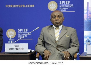 SAINT-PETERSBURG, RUSSIA- JUN 17, 2016: St. Petersburg International Economic Forum SPIEF-2016. Carl Greenidge, Second Vice-President, Minister of Foreign Affairs of the Cooperative Republic of Guyana