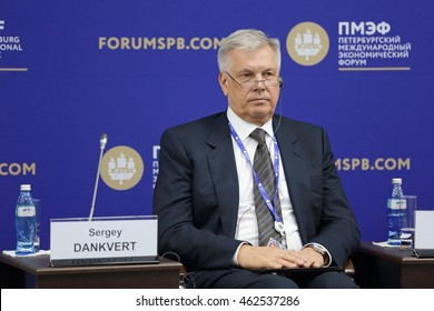 SAINT-PETERSBURG, RUSSIA - JUN 17, 2016: St. Petersburg International Economic Forum SPIEF-2016. Sergey Dankvert, Head, Federal Service for Veterinary and Phytosanitary Surveillance (Rosselkhoznadzor)