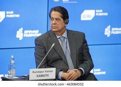 SAINT-PETERSBURG, RUSSIA - JUN 17, 2016: St. Petersburg International Economic Forum SPIEF-2016. Kundapur Vaman Kamath, President, New Development Bank (NDB) BRICS