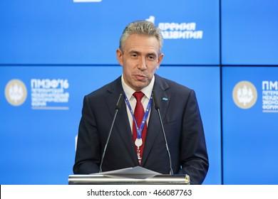 SAINT-PETERSBURG, RUSSIA - JUN 17, 2016: St. Petersburg International Economic Forum SPIEF-2016. Sergey Gorkov, Chairman, Bank for Development and Foreign Economic Affairs (Vnesheconombank)