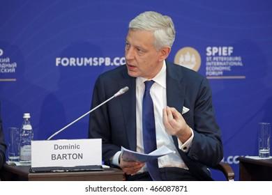 SAINT-PETERSBURG, RUSSIA - JUN 17, 2016: St. Petersburg International Economic Forum SPIEF-2016. Dominic Barton, Global Managing Director, McKinsey & Company