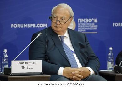 SAINT-PETERSBURG, RUSSIA - JUN 17, 2016: St. Petersburg International Economic Forum SPIEF-2016. Heinz Hermann Thiele, Owner, Chairman of the Supervisory Board, Knorr-Bremse AG