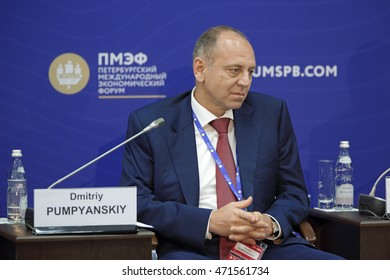 SAINT-PETERSBURG, RUSSIA - JUN 17, 2016: St. Petersburg International Economic Forum SPIEF-2016. Dmitriy Pumpyanskiy, Chairman of the Board of Directors, Tube Metallurgical Company (TMK)