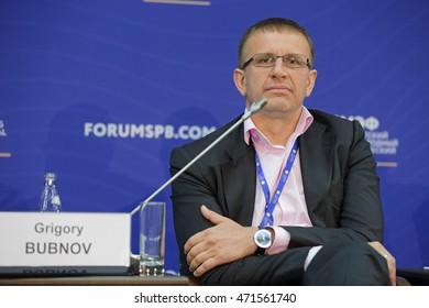 SAINT-PETERSBURG, RUSSIA - JUN 17, 2016: St. Petersburg International Economic Forum SPIEF-2016. Grigory Bubnov, President, Rector, Moscow Technological Institute