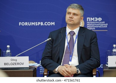 SAINT-PETERSBURG, RUSSIA - JUN 17, 2016: St. Petersburg International Economic Forum SPIEF-2016. Oleg Belozerov, President, Chairman of the Board, Russian Railways