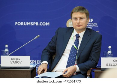 SAINT-PETERSBURG, RUSSIA - JUN 17, 2016: St. Petersburg International Economic Forum SPIEF-2016. Sergey Sergeevich Ivanov, Senior Vice President of the largest Russian bank Sberbank