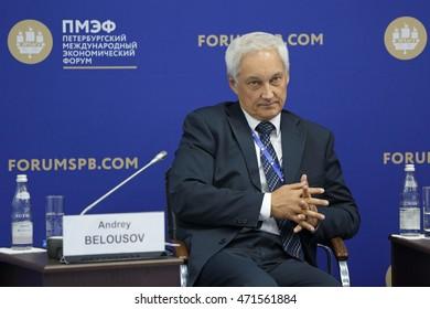 SAINT-PETERSBURG, RUSSIA - JUN 17, 2016: St. Petersburg International Economic Forum SPIEF-2016. Andrey Belousov, Aide to the President of the Russian Federation