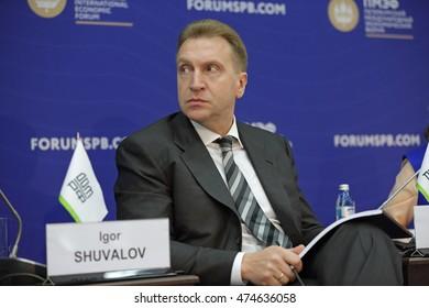 SAINT-PETERSBURG, RUSSIA - JUN 17, 2016: St. Petersburg International Economic Forum SPIEF-2016. Igor Shuvalov - First Deputy Prime Minister of Russia