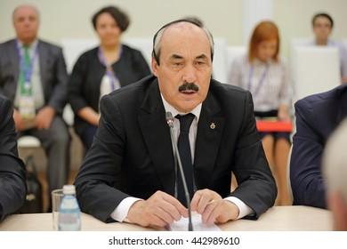 SAINT-PETERSBURG, RUSSIA - JUN 18, 2016: St. Petersburg International Economic Forum SPIEF-2016. Ramazan Abdulatipov - head of the Republic of Dagestan