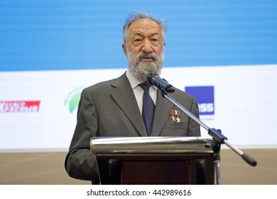 SAINT-PETERSBURG, RUSSIA - JUN 18, 2016: St. Petersburg International Economic Forum SPIEF-2016. Artur Chilingarov - famous Armenian-Russian polar explorer