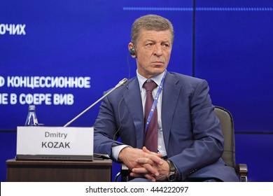 SAINT-PETERSBURG, RUSSIA - JUN 18, 2016: St. Petersburg International Economic Forum SPIEF-2016. Dmitry Nikolayevich Kozak - Deputy Prime Minister of Russia