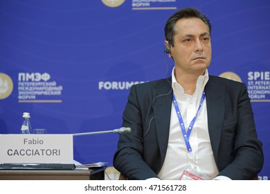 SAINT-PETERSBURG, RUSSIA - JUN 18, 2016: St. Petersburg International Economic Forum SPIEF-2016. Fabio Cacciatori, Founder, Intelligent Ideas