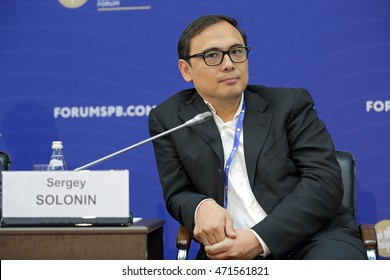 SAINT-PETERSBURG, RUSSIA - JUN 18, 2016: St. Petersburg International Economic Forum SPIEF-2016. Sergey Solonin, Chief Executive Officer, Qiwi