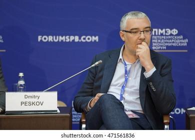 SAINT-PETERSBURG, RUSSIA - JUN 18, 2016: St. Petersburg International Economic Forum SPIEF-2016. Dmitry Nikolaevich Peskov, Director, Young Professionals Department, Agency for Strategic Initiatives