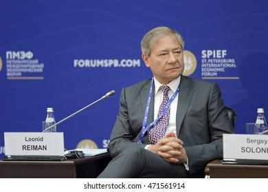 SAINT-PETERSBURG, RUSSIA - JUN 18, 2016: St. Petersburg International Economic Forum SPIEF-2016. Leonid Reiman, Chairman of Board of Directors, Angstrem Group