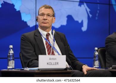 SAINT-PETERSBURG, RUSSIA - JUN 18, 2016: St. Petersburg International Economic Forum SPIEF-2016. Anton Koller, President of District Heating Division, Danfoss A/S