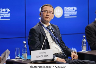 SAINT-PETERSBURG, RUSSIA - JUN 18, 2016: St. Petersburg International Economic Forum SPIEF-2016. Nikolay Nikolyuk, �¡hief Executive Officer, �¡oncession of Water Supply