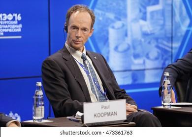 SAINT-PETERSBURG, RUSSIA - JUN 18, 2016: St. Petersburg International Economic Forum SPIEF-2016. Paul Koopman, President, SEKISUI Pipe Renewal Europe