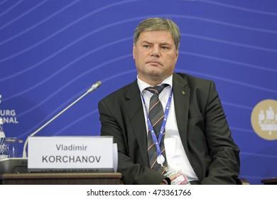 SAINT-PETERSBURG, RUSSIA - JUN 18, 2016: St. Petersburg International Economic Forum SPIEF-2016. Vladimir Korchanov, First Vice President, Far Eastern Shipping Company