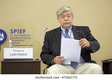 SAINT-PETERSBURG, RUSSIA - JUN 18, 2016: St. Petersburg International Economic Forum SPIEF-2016. Yevgeny Lukyanov, Deputy Secretary of the Security Council of the Russian Federation