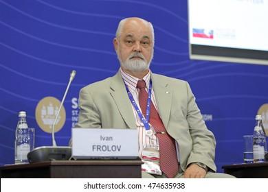 SAINT-PETERSBURG, RUSSIA - JUN 18, 2016: St. Petersburg International Economic Forum SPIEF-2016. Ivan Frolov, Director, Arctic and Antarctic Research Institute