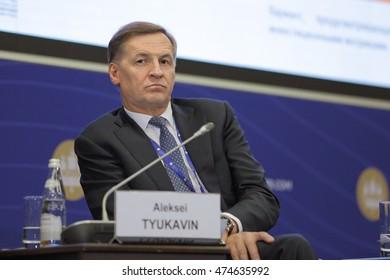 SAINT-PETERSBURG, RUSSIA - JUN 18, 2016: St. Petersburg International Economic Forum SPIEF-2016. Aleksey Tyukavin, First Deputy Governor of Murmansk Region