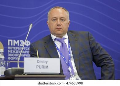 SAINT-PETERSBURG, RUSSIA - JUN 18, 2016: St. Petersburg International Economic Forum SPIEF-2016. Dmitry Purim, Chairman of the Board, Sovfracht