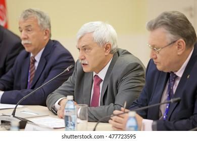 SAINT-PETERSBURG, RUSSIA - JUN 18, 2016: St. Petersburg International Economic Forum SPIEF-2016. Georgy Sergeyevich Poltavchenko - Governor of Saint Petersburg