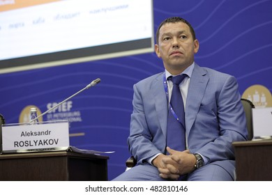 SAINT-PETERSBURG, RUSSIA - JUN 18, 2016: St. Petersburg International Economic Forum SPIEF-2016. Aleksandr Roslyakov, CEO, Onego Shipping