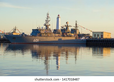"SAINT-PETERSBURG, RUSSIA - JUNE 03, 2019: The modern Russian minesweeper ""Ivan Antonov"" (project 12700) in the Middle Harbor on a June summer evening. Kronstadt"