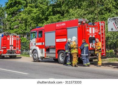 SAINT-PETERSBURG, RUSSIA - JUNE 10, 2015: Fire brigade before exercise
