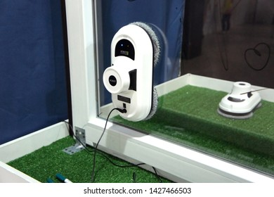 Saint-Petersburg, RUSSIA - June 15, 2019: Window Cleaning Robot Hobot 198. Automatic washing device at the exhibition.