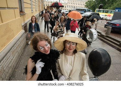 Saint-Petersburg, Russia - June 16, 2016:  Bloomsday the annual worldwide festival fans the famous Irish writer James Joyce. Costume parade through the streets of the city.