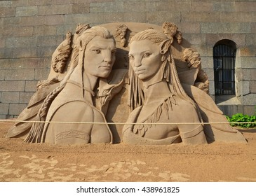 """SAINT-PETERSBURG, RUSSIA - JUNE 16, 2016 - Sand sculpture in Peter and Paul Fortress, St-Petersburg. Based on the movie """"Avatar"""""""