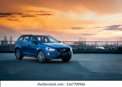 Saint-Petersburg, Russia - June 17, 2017: Modern luxury swedish manufactury car Volvo XC60 R-Design Polestar Edition on the test-drive in Sankt-Petersburg at february 16 2017