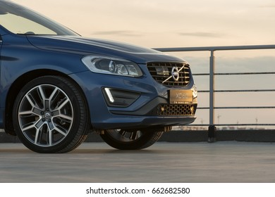 Saint-Petersburg, Russia - June 17, 2017: Modern luxury swedish manufactury car Volvo XC60 R-Design  Edition with Polestar tuning on the test-drive in Sankt-Petersburg at june 17 2017