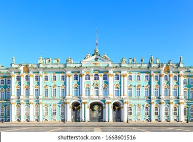 Saint-Petersburg, Russia - June 18, 2019: State Hermitage Museum. View from the Palace Square